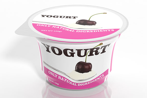 Yogurt of cherry flavor