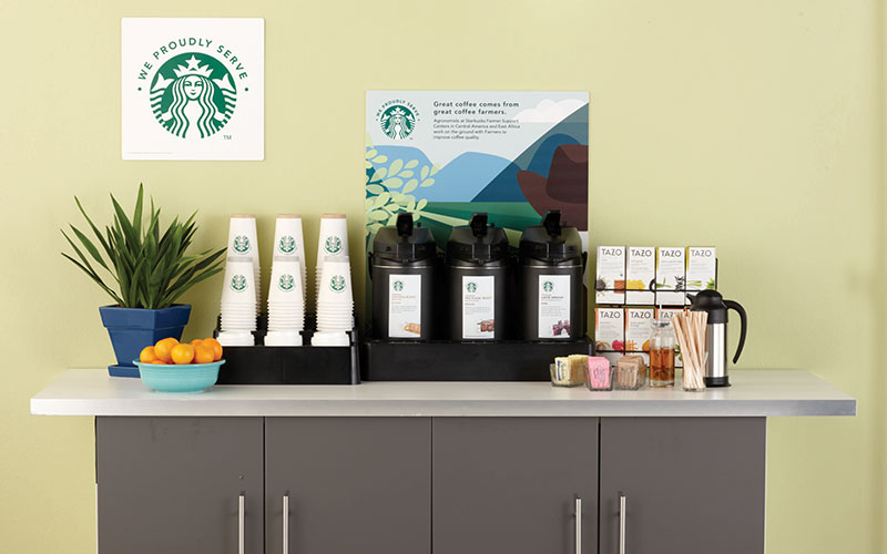 Office setup with Starbuck products